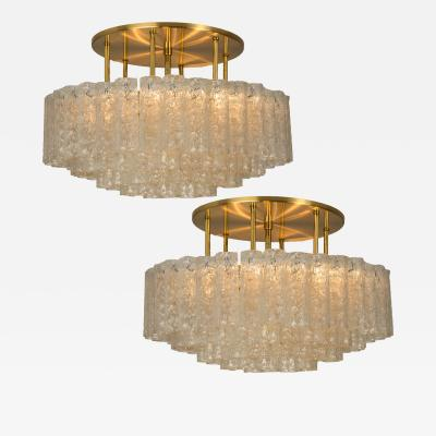 Doria Leuchten One of the Two Large Blown Glass Brass Flush Mount Light Fixtures by Doria