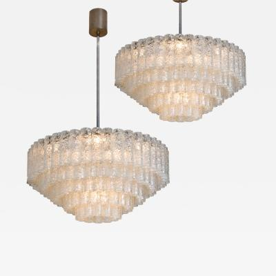 Doria Leuchten Pair of Doria Giant Ballroom Chandeliers with 130 4 Reserve Blown Glass tubes