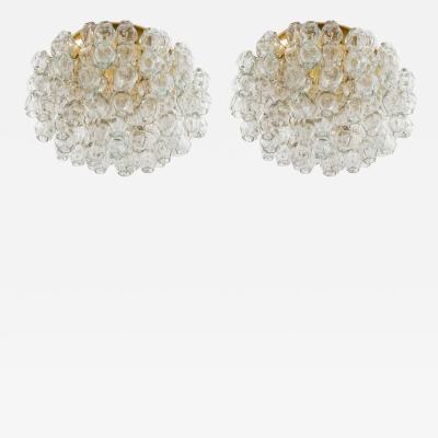 Doria Leuchten Pair of Flush Mounts in Brass and Glass by Doria Lichtenwerken