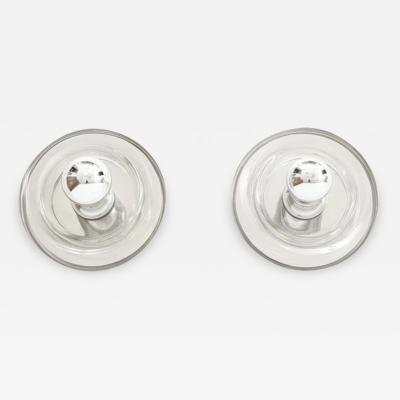 Doria Leuchten Pair of Minimalist Glass Donut Sconces Flush Mounts by Doria