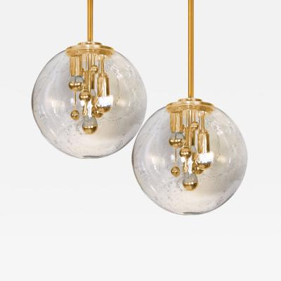 Doria Leuchten Pair of Space Age Brass and Blown Glass Lights By Doria 1970s