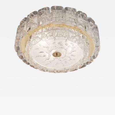 Doria Leuchten Two Tier Organic Glass Flushmount with Brass Surround