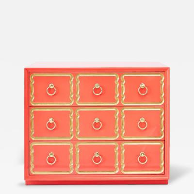 Dorothy Draper AUTHENTIC DOROTHY DRAPER ESPANA CHEST IN CORAL LACQUER