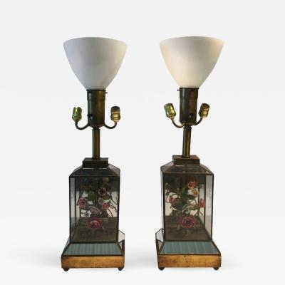 Dorothy Draper Dorothy Draper Style Mirrored Pair of Colored Shell Brass Flower Diorama Lamps