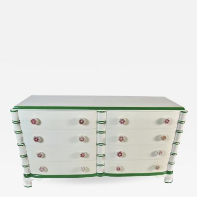 Dorothy Draper Dorothy Draper White Lacquer Eight Drawer Dresser the Greenbrier Resort 1946