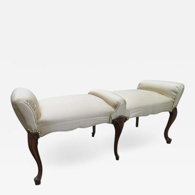 Dorothy Draper Elegant Regency Modern Cabriolet Leg Upholstered Bench Dorothy Draper