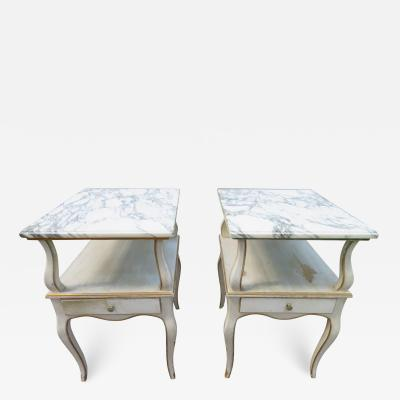 Dorothy Draper Lovely Pair Dorothy Draper style Marble Top Night Stands Hollywood Regency