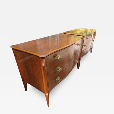 Dorothy Draper Magnificent Pair of Dorothy Draper Style Bowed Front Bachelors Chests Regency