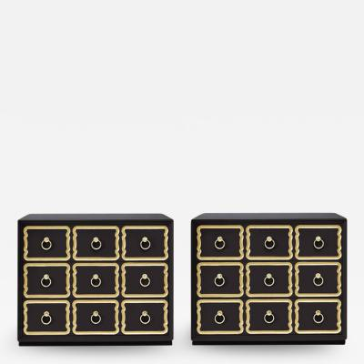 Dorothy Draper Pair of Authentic Dorothy Draper Espana Chests in Traditional Black Bean
