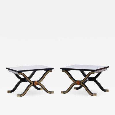 Dorothy Draper Pair of Dorothy Draper Espa a Side Tables in Original Black and Gold Lacquer