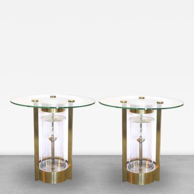 Dorothy Thorpe A Pair of American Glass and Brass Illuminated Side Tables by Dorothy Thorpe