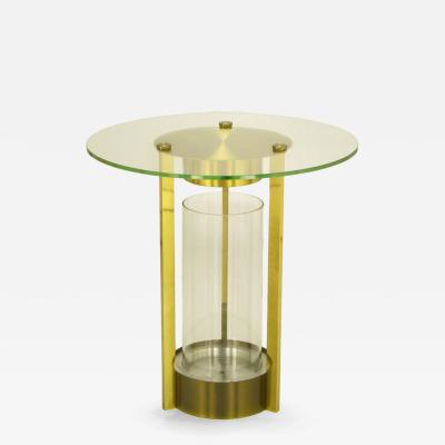 Dorothy Thorpe Brass and Glass Cylindrical End Table Attributed to Dorothy Thorpe