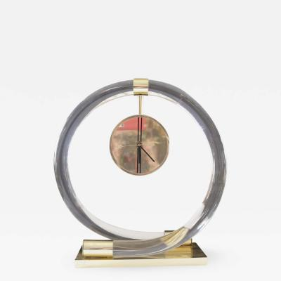 Dorothy Thorpe Circular Lucite and Brass Clock by Dorothy Thorpe