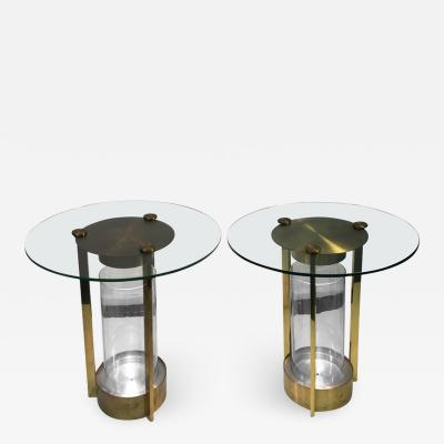 Dorothy Thorpe DOROTHY THORPE PAIR OF ILLUMINATED BRASS AND GLASS TABLES