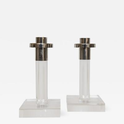 Dorothy Thorpe Pair of Acrylic Candlesticks By Dorothy Thorpe
