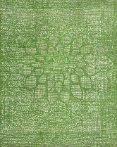 Dots in Grass Green SoFarSoNear Studio Super Fine Gabbeh Wool Silk