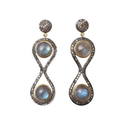 Double Cabochon Labradorite and Diamond Figure 8 Earrings