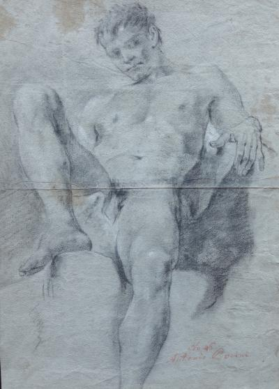 Double Sided Academic Study of a Male Nude Drawing