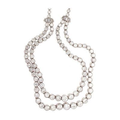 Double Stranded Diamond Platinum Necklace