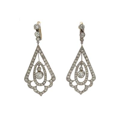 Double Triangle Diamond Platinum Drop Earrings w Movable Center