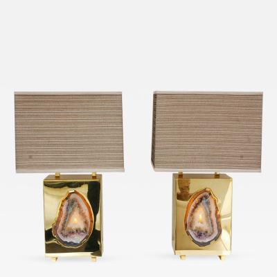 Dragonette Limited Special Edition Pedra Brass Agate Table Lamps Dragonette Private Label