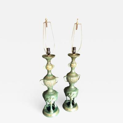 Dramatic Pair of James Mont Style Asian Lamps