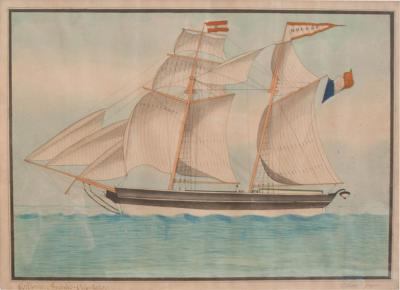 Drawing of French Schooner in Gilt Wood Frame