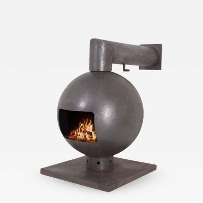 Dries Kreijkamp Brutalist Spherical Fireplace by Dries Kreijkamp in Cast Iron 1960s