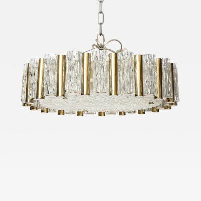 Drum Shaped Brass and Glass Flush Chandelier by Kaiser