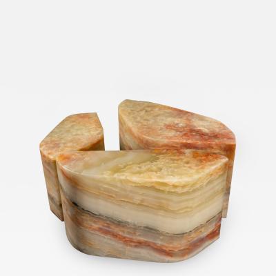 Duccio Maria Gambi Duccio Maria Gambi for Blend Set of three Onyx Stools Sidetables Italy 2021