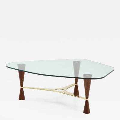 Dunbar Style Walnut Brass and Glass Shaped Cocktail or Coffee Table