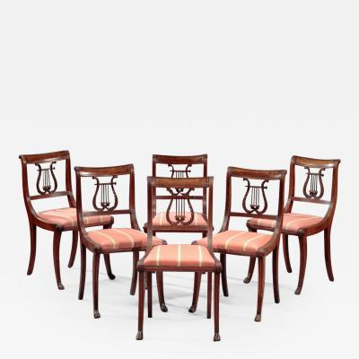 Duncan Phyfe Set of Six Lyre Back Side Chairs attributed to the Workshop of Duncan Phyfe