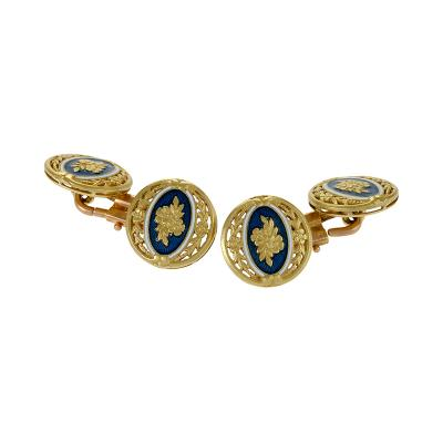 Durand Durand French Art Nouveau Enamel and Gold Cuff Links