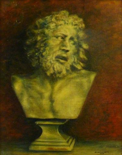 Durand Louis French Painting of a Classical Bust by Durand Louis