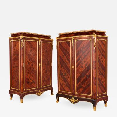 Durand Pair of gilt bronze mounted marquetry cabinets by Durand