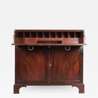 Dutch 19th Century Mahogany Drop Front Desk Linen Press