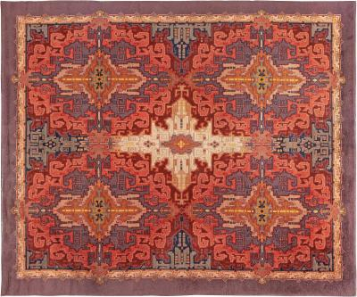 Dutch Art Deco Purple Beige Burgundy and Orange Rug by Jaap Gidding