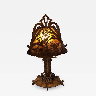 Dutch Arts and Crafts Amsterdam School scroll cut Birch Lamp Mica 1920