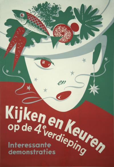 Dutch Cooking Demonstration Poster circa 1960