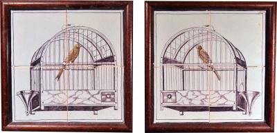 Dutch Delft Pair of Framed Tile Plaques with Birds in Birdcages
