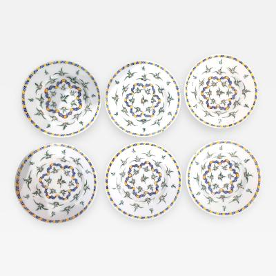 Dutch Delft Set of Six Dinner Plates with Plants and Ribbon Design