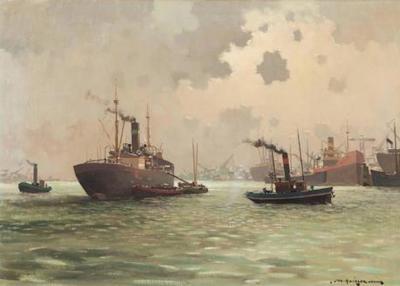 Dutch Harbor Painting by Jan Knikker Jr