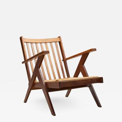 Dutch Lounge Chair with Woven Rush Seat The Netherlands 1950s