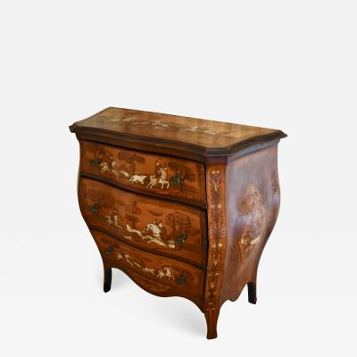 Dutch Marquetry Bomb Commode