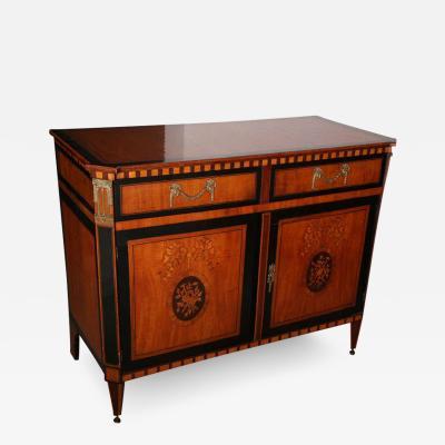 Dutch Neoclassic Sycamore Ebonized Marquetry Credenza