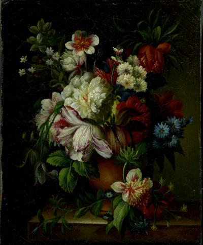 Dutch Painted Vase with Flowers