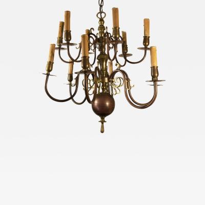 Dutch Style 19th c Copper Brass Twelve Light Two Tier Chandelier