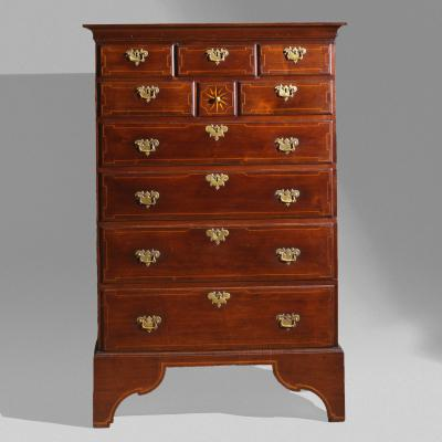 Berks County Inlaid Tall Chest c 1770