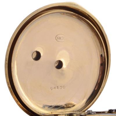 E Bronner Cie Portrait Hunter Case 18K Pocket Watch