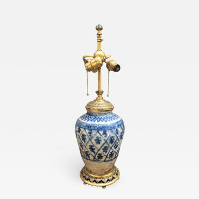 E F Caldwell Dor Bronze and Enamel Asian Antique Vase Mounted as a Lamp
